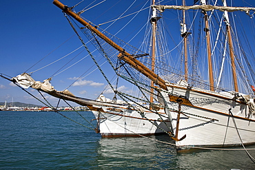 Two historical sailing ships with extensive rigging in the harbour of Eivissa, Ibiza, Baleares, Spain