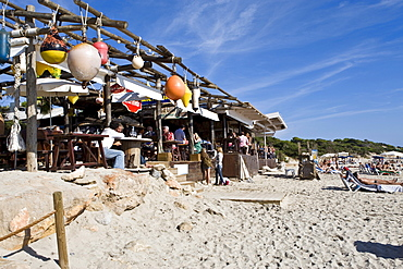 Les Salinas beach with restaurant Jockey Club, Ibiza, Baleares, Spain