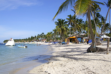 Locals selling souvenirs on the beach in Punta Cana, Dominican Republic, Caribbean, Americas