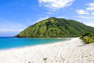 Deserted white sand beach near Kuta, Lombok Island, Lesser Sunda Islands, Indonesia