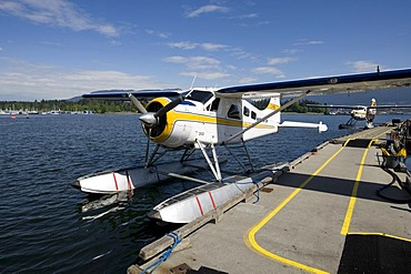 Seaplane tied to jetty, Coral Harbour, Vancouver, British Columbia, Canada, North America