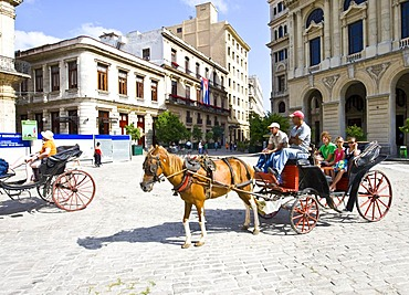 Horse and carriage for tourists in the historic city centre of Havana, Cuba, Caribbean