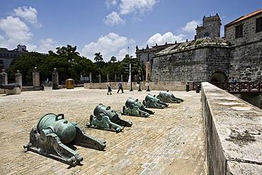 Canons at the Castillo de la Real Fuerza or Castle of the Royal Force, Havana, Cuba, Caribbean