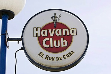 Advertisement for Cuban rum in the historic city centre of Havana, Cuba, Carribean