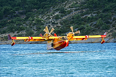 Fire-fighting plane, Securite Civile, Lac de St. Croix, Provence, France