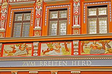 """""""Zum breiten Herd"""" restaurant, Kraemerbruecke (bridge), Erfurt, Thuringia, Germany, Europe"""