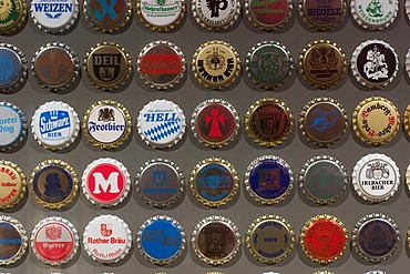Bottle caps - Bavarian brewery museum in Kulmbach - Franconia - Germany