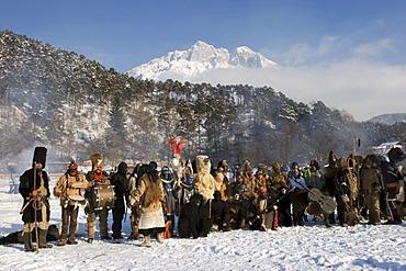 Carnival tradition Telfer Schleicherlaufen capturing bears - Telfs Tyrol Austria