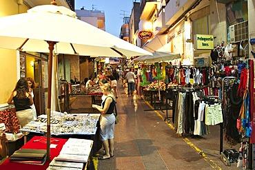 Shopping street Carrer de Santa Agnes in Sant Antoni de Portmany