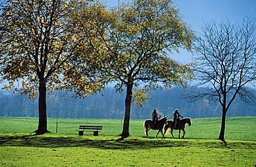 Two riders in Chiemgau , Upper Bavaria Germany