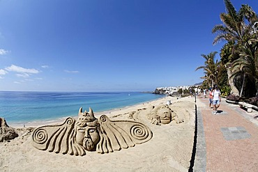 Sculptures of sand in Morro Jable , Jandia , Fuerteventura , Canary Islands