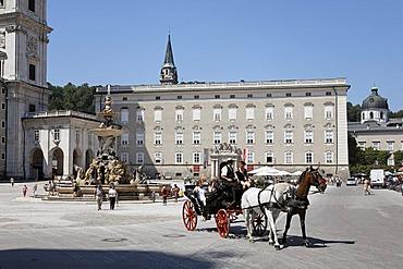 Residence fountain at Residence Square, medieval bishops' residence, Salzburg, Austria