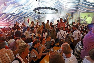 Beer tent at Gaeuboden festival in Straubing, Lower Bavaria, Germany