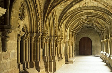 Cloister in monastery Rueda in Ebro Valley, Aragon (Zaragoza), Spain