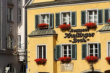 Brewery Kneittinger at Arnulfplatz, Regensburg, Upper Palatinate, Bavaria, Germany