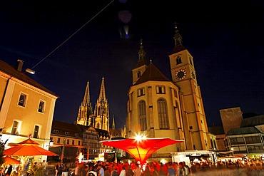 Neupfarrkirche church on Neupfarrplatz, cathedral, Regensburg, Upper Palatinate, Bavaria, Germany