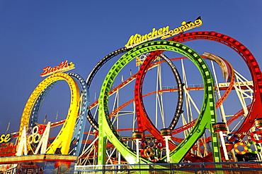 Roller coaster Olympia Looping, Oktoberfest, Munich beer festival, Bavaria, Germany