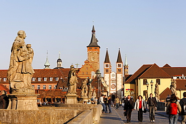 Wuerzburg, Old Bridge, Townhall, cathedral, Franconia, Bavaria, Germany