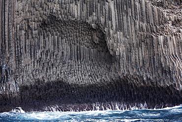 Roque de los Organos, organ pipes rock, view from boat, La Gomera, Canary Islands, Spain