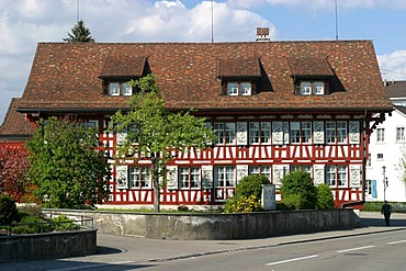 Town square of Amriswil (Thurgau, Switzerland) with a timber-frame construction