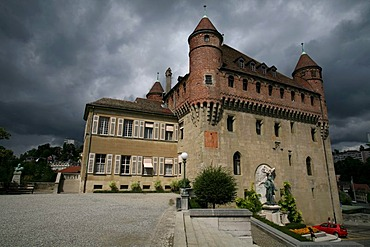 Looming thunderstorm and black clouds behind the Saint-Maire castle in the old suburbs of Lausanne, Waadt, Switzerland