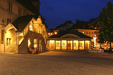 "Central town hall square ""Hotel de Ville"" in Fribourg, Switzerland"