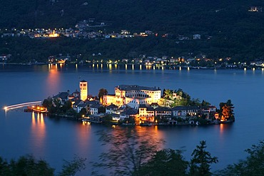 Orta San Giulio with its 20 chapels on Sacro Monte, dedicated to the life of Francis of Assisi, and the isle of San Giulio with its Romanesque Basilica, Lago d'Orta, Piedmont, Italy