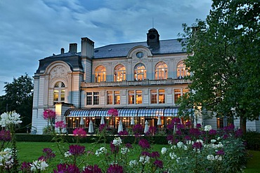 The city theater with the veranda of the theater cafe in St. Gall, Switzerland