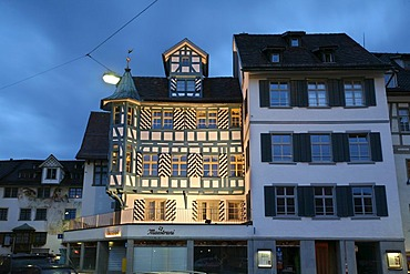 Famous blue timberframe house in the historic city center of St. Gall, opposite the UNESCO world heritage of church and abbey of St. Gall, Switzerland