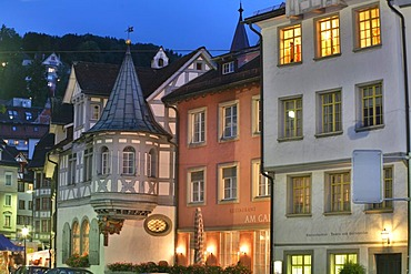 Timberframe houses and old facades on the Gallus square in the historic city center of St. Gall, Switzerland