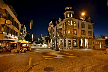 The brightly lit pedestrian area apparently extends to the horizon, Wil, St. Gallen, Switzerland