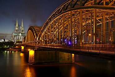 The steel construction of the Hohenzollern bridge and the cathedral in the background, Cologne, NRW, Germany