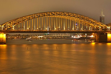 Middle arc of the Hohenzollern bridge of the Rhine river, Cologne, NRW, Germany