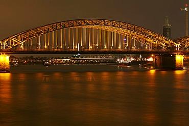 Middle arc of the Hohenzollern bridge of the Rhine river (DRI technique), Cologne, NRW, Germany