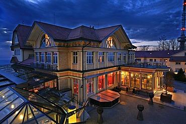 Restaurant Uto Kulm at dusk seen from the Ueetliberg, Zurich, Switzerland