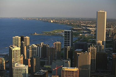 Skyline and Lake Michigan shore before sunset as seen from John Hancock, Chicago, Illinois, USA