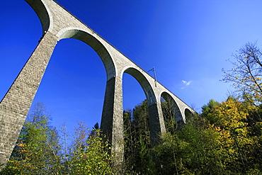 Train viaduct near Luetisburg in autumn colors, St. Gall, Switzerland