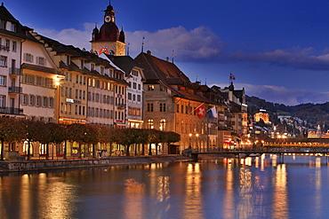 Townhall, Reuss River and historic Kapell Bridge, Lucerne, Switzerland