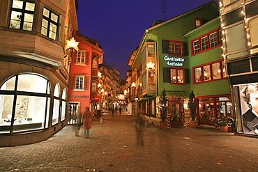 Christmas illumination at Augustinergasse / Bahnhofstrasse, Zurich, Switzerland