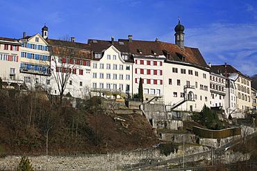 Historic buildings overlooking the Thur River, Lichtensteig, St. Gall, Switzerland
