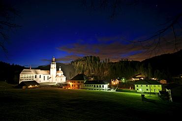 Monastery Fischingen with church at dusk in wintertime, Fischingen, Thurgau, Switzerland