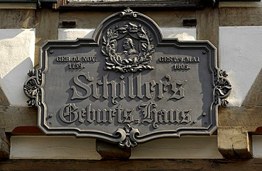 Commemorative plaque on birthplace of Friedrich SCHILLER, Marbach am Neckar, Baden-Wuerttemberg, Germany
