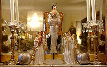 Three Christmas angels, Christmas decorations on mantelpiece
