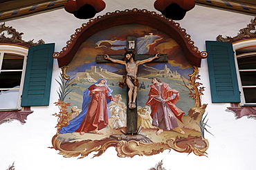 """Lueftlmalerei, "" traditionally painted building facade, Alte Post Inn, Oberammergau, Upper Bavaria, Bavaria, Germany, Europe"