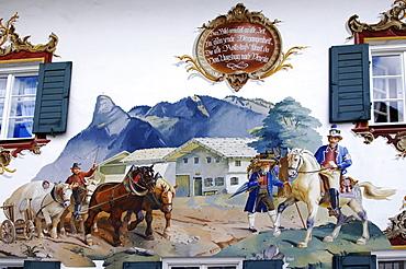 """Lueftlmalerei, "" traditionally painted building facade, Alte Post Inn, Oberammergau, Upper Bavaria, Bavaria, Germany, Europe"