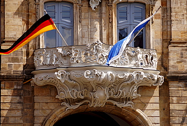 Balcony on the Old Town Hall, flags, Bamberg, Upper Franconia, Bavaria, Germany, Europe