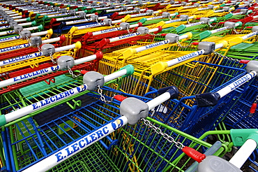 Shopping carts in many colours, Ribeauvillee, Alsace, France, Europe