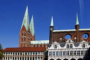 Old city hall with St. Marienkirche, St. Mary's Church, Luebeck, Schleswig- Holstein, Germany, Europe