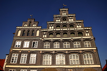 Renaissance facade of the Industire and Chamber of Commerce, in detail, Lueneburg, Lower Saxony, Germany, Europe