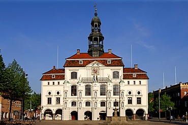 Town hall with lunar fountain, Lueneburg, Lower Saxony, Germany, Europe